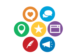 Icon wheel of business marketing webinar topics